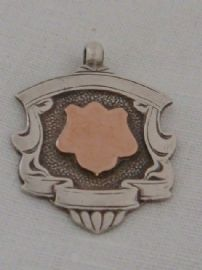 1920s Silver Watch Fob Medal with Rose Gold Cartouche - Hallmarked Birmingham 1929